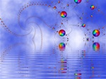 Another surreal balloon image. Here, a bevy of rainbow color balls are suspended over a tranquil lake, floating down to reflect in the rippled water.